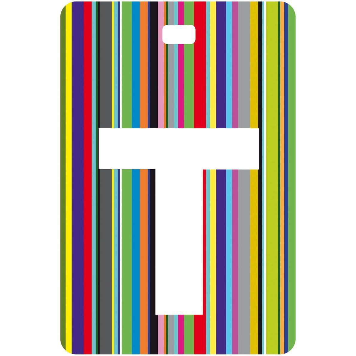etichetta baglio con lettera alfabeto bianca su sfondo a righe colorate