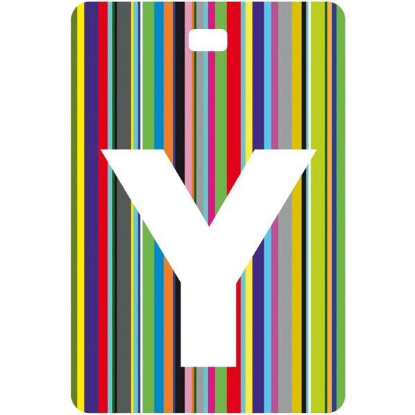 Etichetta bagaglio con lettera alfabeto bianca su sfondo a righe colorate con iniziale Y