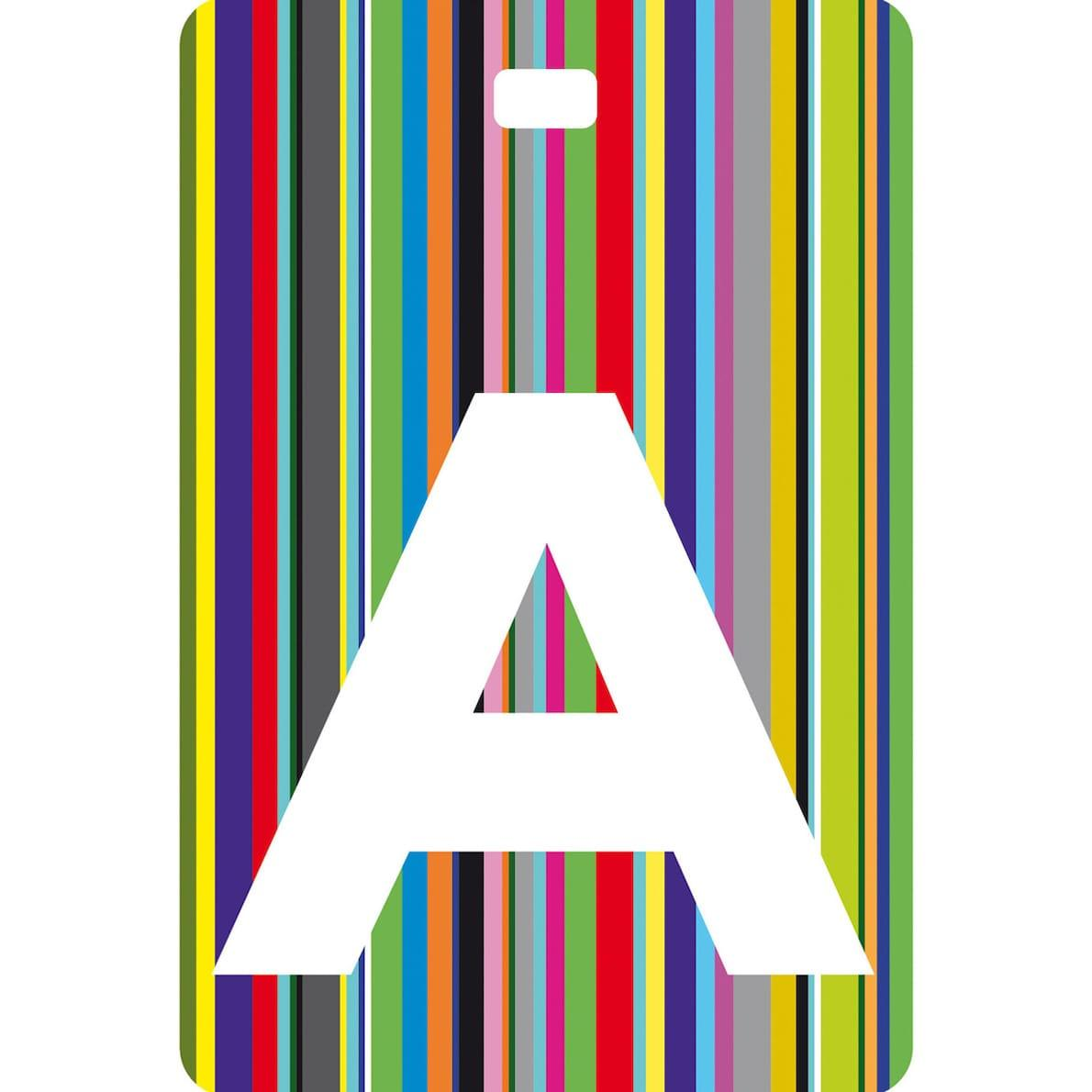 Etichetta baglio con lettera alfabeto bianca su sfondo a righe colorate carattere testuale A