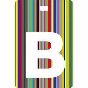 Etichetta bagaglio con lettera alfabeto bianca su sfondo a righe colorate con iniziale B