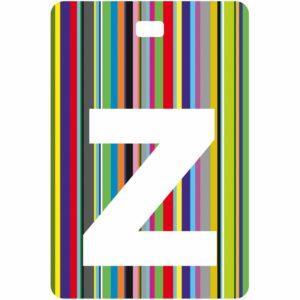 Etichetta bagaglio con lettera alfabeto bianca su sfondo a righe colorate con iniziale Z
