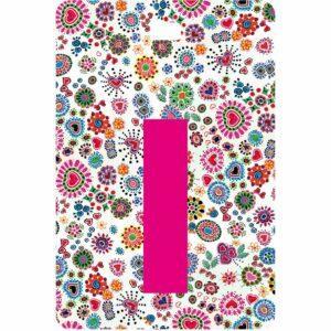 Etichetta bagaglio con lettera alfabeto bianca su sfondo fantasia cuori e fiori colorati con iniziale I