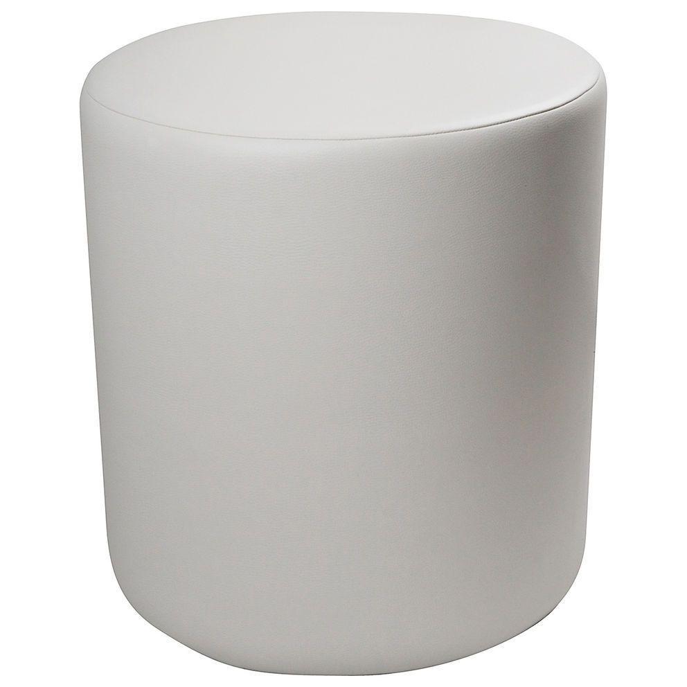 Pouf cilindrico in ecopelle bianca altezza 50 cm