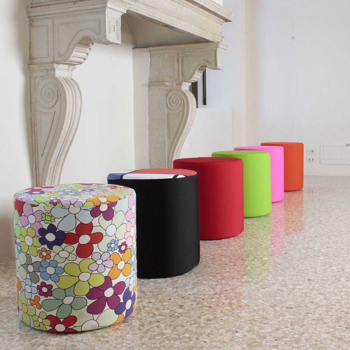 Pouf cilindrico in ecopelle bianca con fodera in tessuto di vari colori altezza 50 cm
