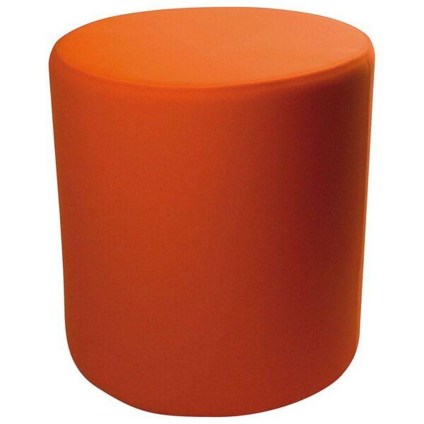 Pouf cilindrico in ecopelle bianca con fodera arancione