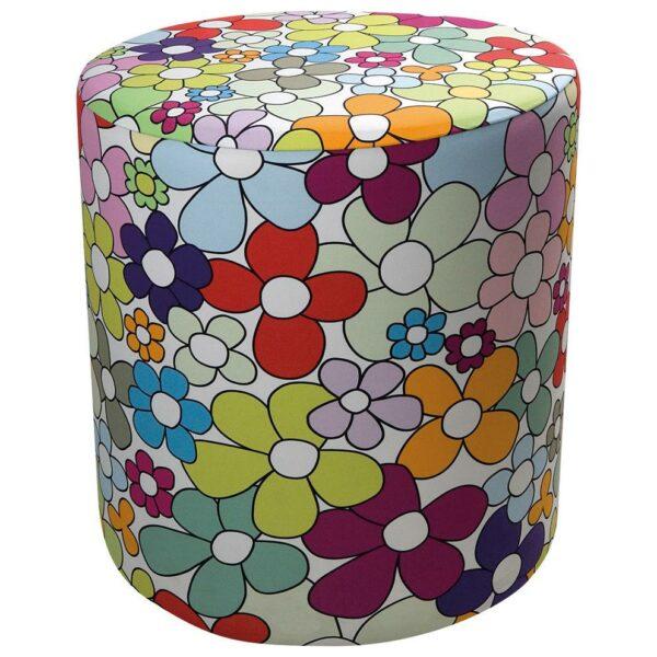 Pouf cilindrico in ecopelle bianca con fodera in tessuto con texture floreale colorata