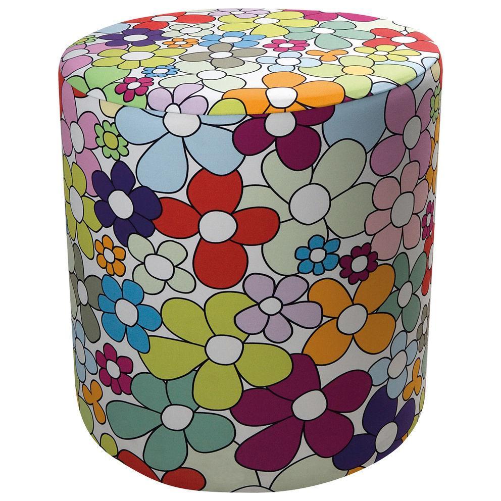 Pouf cilindrico in ecopelle bianca con fodera in tessuto con texture floreale colorata altezza 50 cm