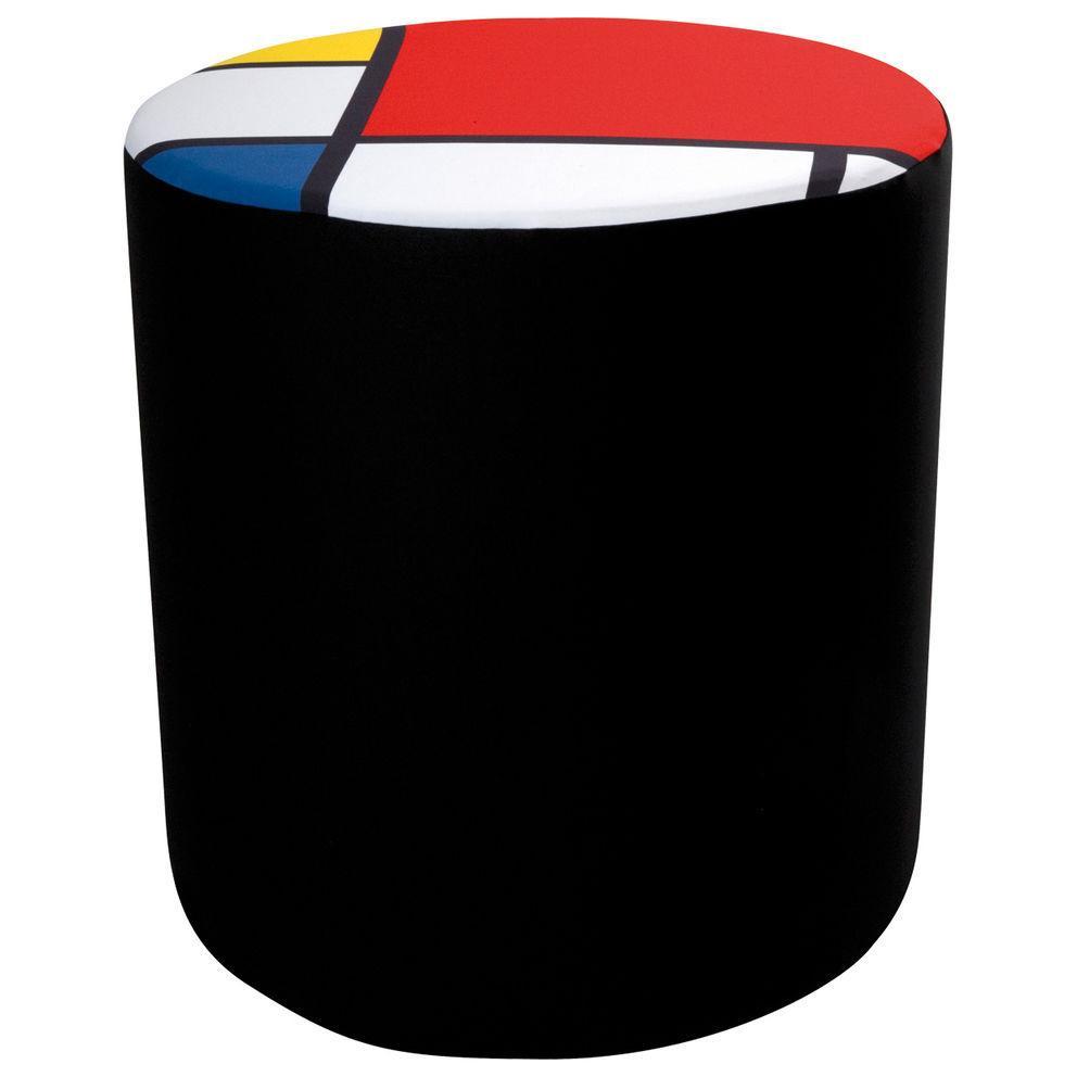 Pouf cilindrico in ecopelle bianca di con fodera in tessuto con texture stile mondrian altezzza 50 cm