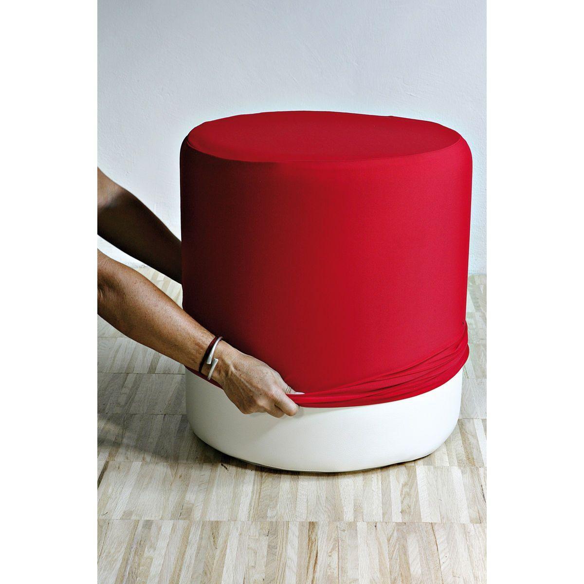 Pouf cilindrico in ecopelle bianca con fodera in tessuto rosso