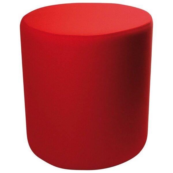 Pouf cilindrico in ecopelle bianca con fodera rossa