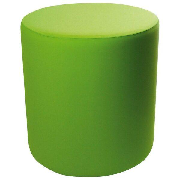 Pouf cilindrico in ecopelle bianca con fodera verde
