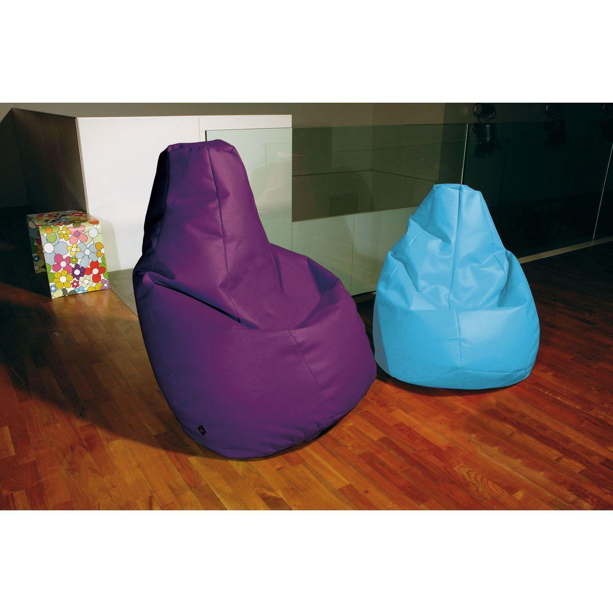 Poltrona a sacco Lolita in ecopelle viola e azzurro
