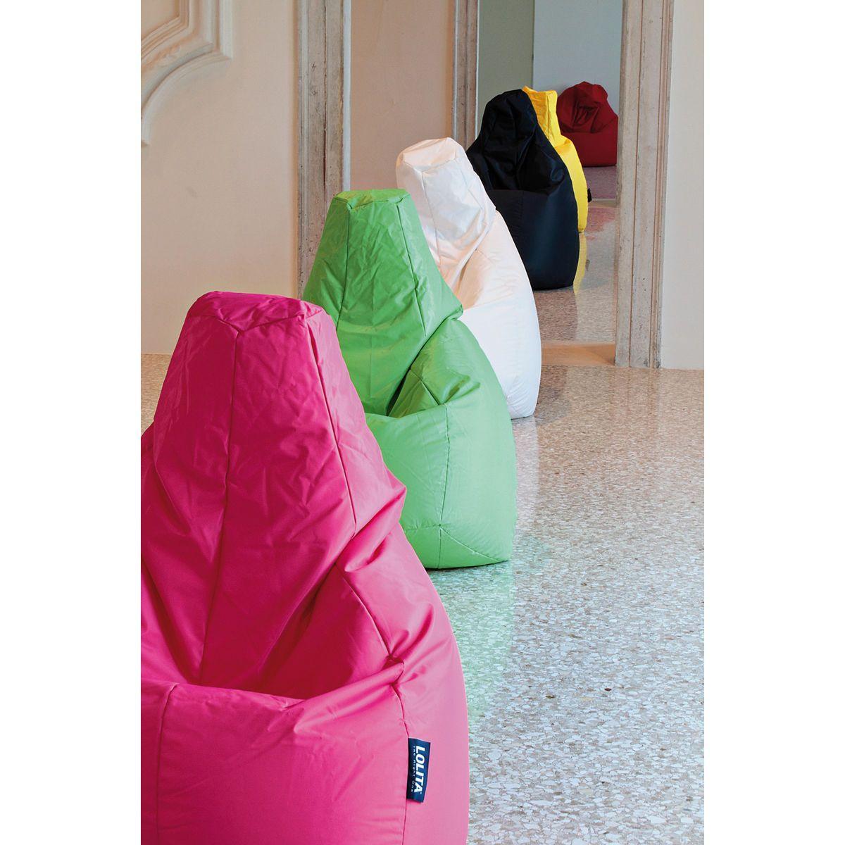 Poltrone a sacco Lolita nylon finitura mano morbida fucsia, verde, bianco, nero, giallo, rosso