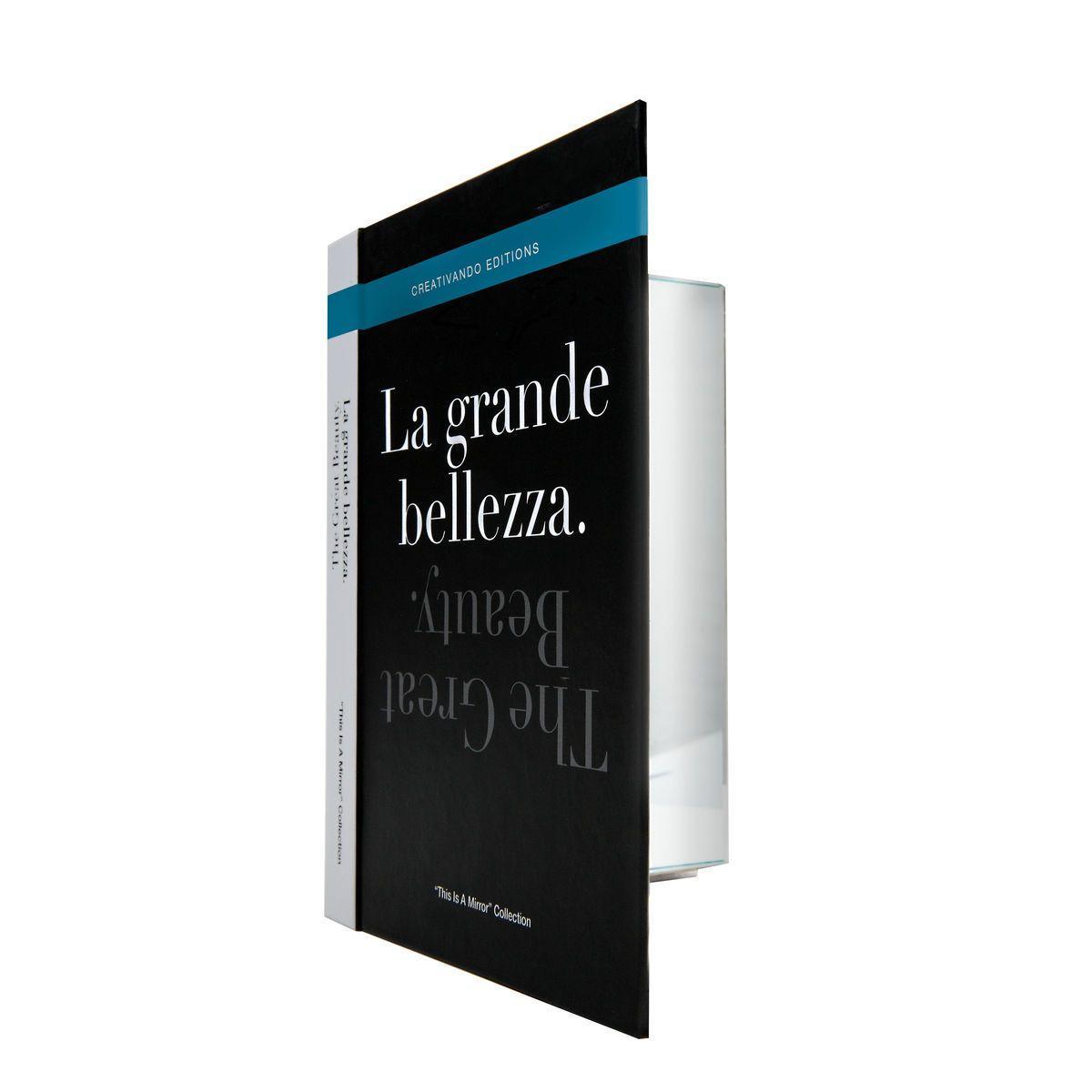 Specchio da borsetta o scrivania a forma di libro copertina nera testo La grande bellezza
