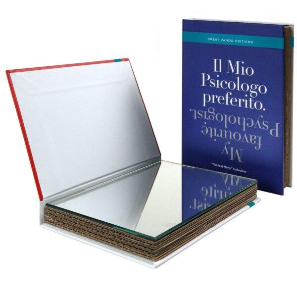 Specchio da borsetta o scrivania a forma di libro copertina blu testo Il mio psicologo preferito