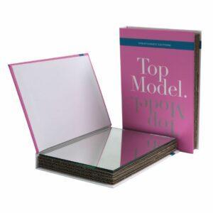 Specchio da borsetta o scrivania a forma di libro copertina rosa testo Top model