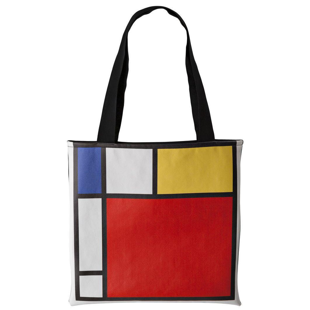 Borsa da viaggio bianca con grafica stile Mondrian