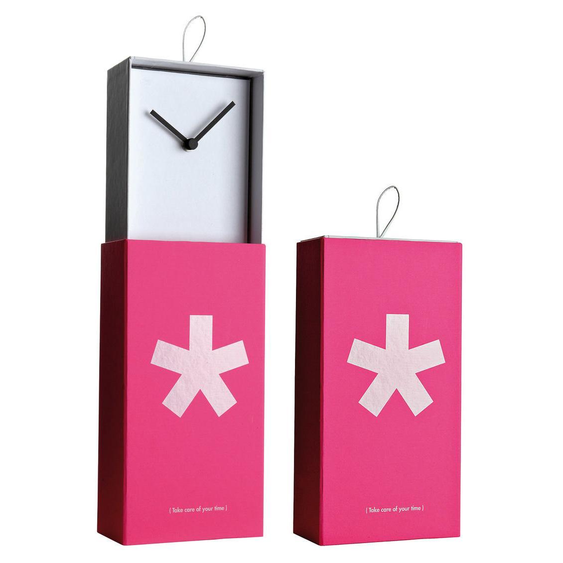 Orologio da parete o da appoggio racchiuso in scatola rettangolare con artwork megenta con asterisco bianco