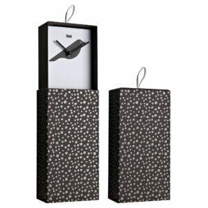 Orologio da parete o da appoggio racchiuso in scatola rettangolare con artwork nero con grafica interna di uccello stilizzato