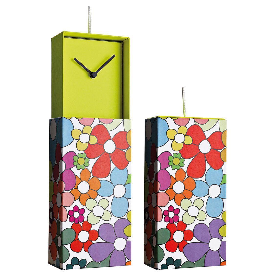 Orologio da parete o da appoggio racchiuso in scatola rettangolare con grafica floreale colorata