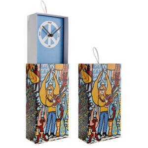 Orologio da parete o da appoggio racchiuso in scatola rettangolare con artwork colorato con grafica interna con simbolo di pace