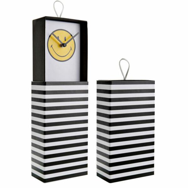 Orologio da parete o da appoggio racchiuso in scatola rettangolare a righe bianche e nere con grafica interna Smiley