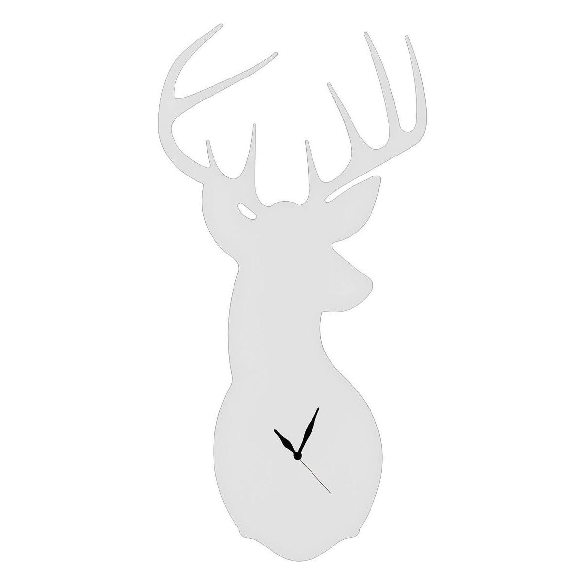 Orologio da parete bianco a forma di testa di cervo