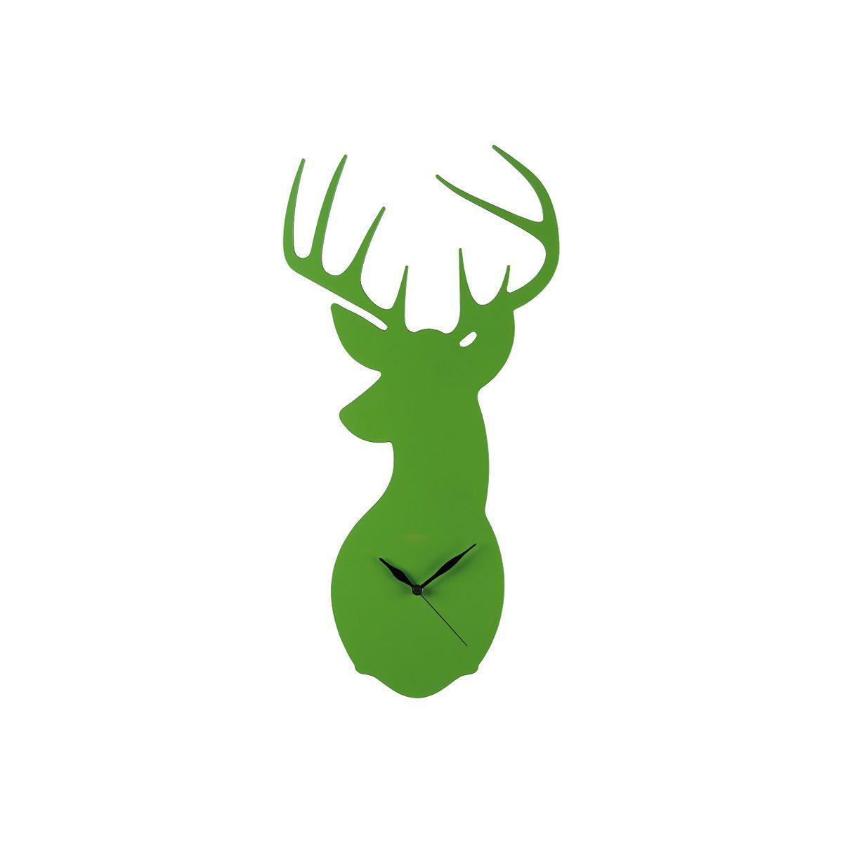 Orologio da parete verde a forma di testa di cervo