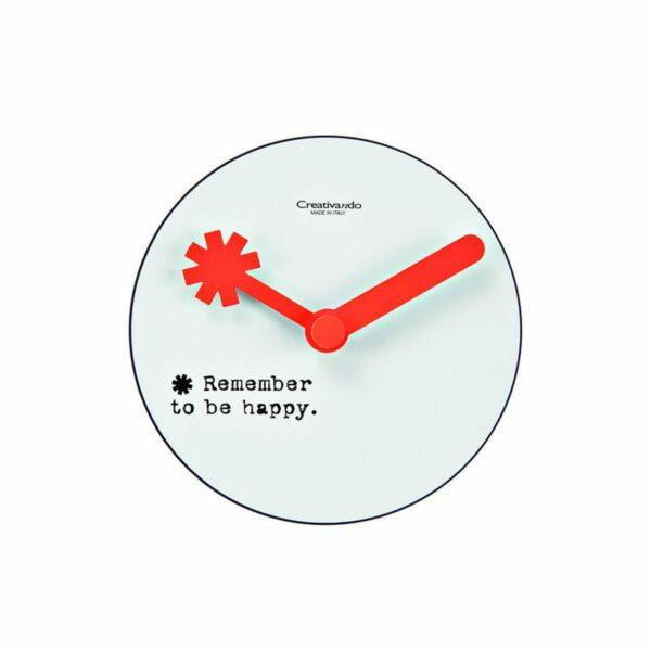 Orologio da parete circolare bianco con lancette arancione fluo e testo Remember to be happy nero