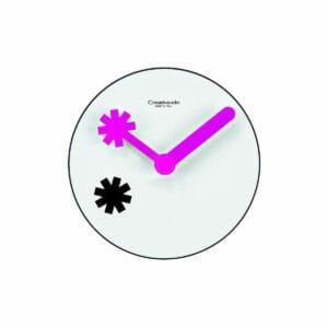 Orologio da parete circolare bianco con lancette viola