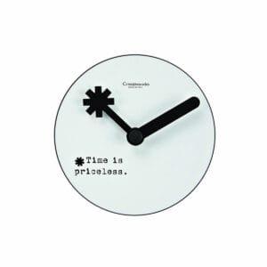 Orologio da parete circolare bianco con lancette nere e testo Time is priceless nero