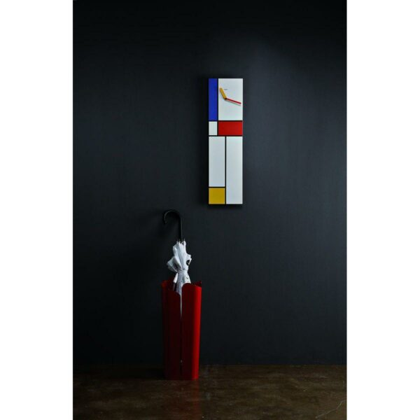 Orologio da parete rettangolare con grafica in stile Mondrian