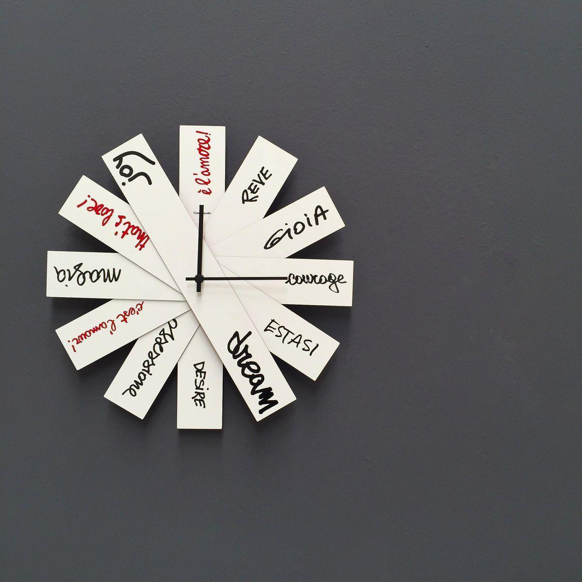 Orologio da parete circolare a ventaglio richiudibile con lancette nere e testo nero o rosso