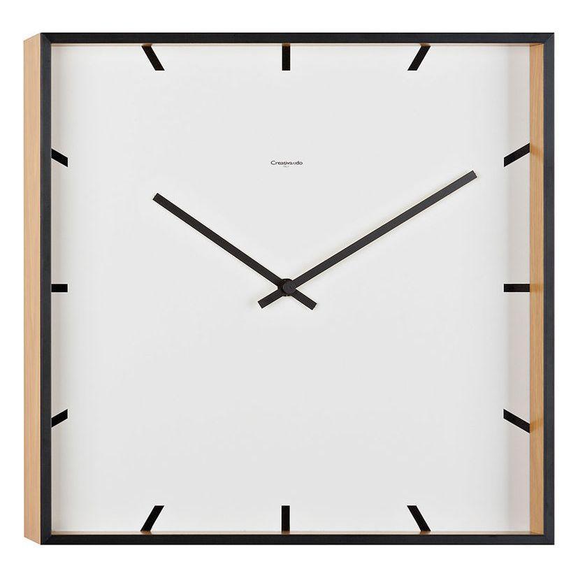 Orologio da parete quadrato di colore bianco e rovere