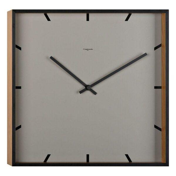 Orologio da parete quadrato di colore grigio e rovere