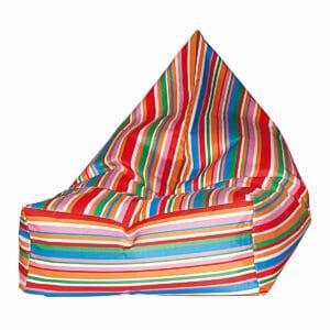 Poltrona a sacco Peggy in nylon finitura mano morbida con pattern a righe multicolor