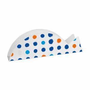 Portabuste a forma di pesce bianco con pois blu azzurro e arancio