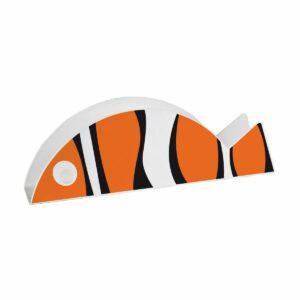 Portabuste a forma di pesce bianco con strisce tigrate arancioni e nere
