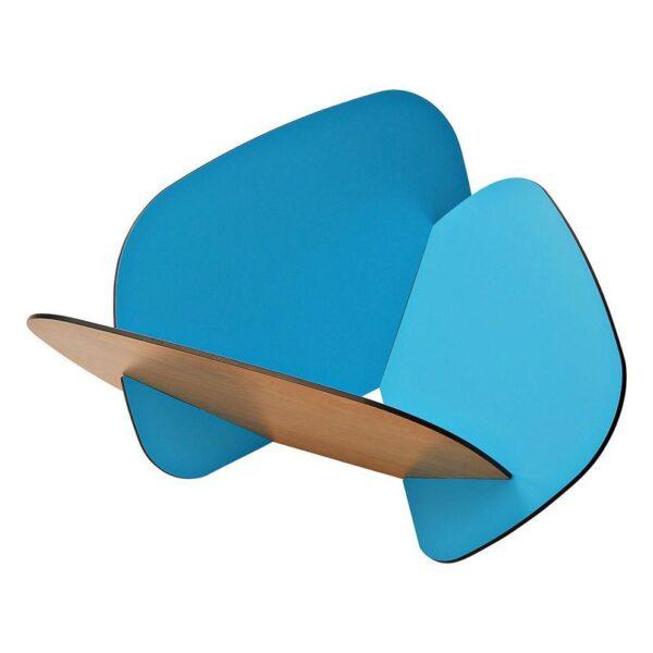 Contenitore multiuso formato da tre tasselli incassati tra loro colore rovere e azzurro