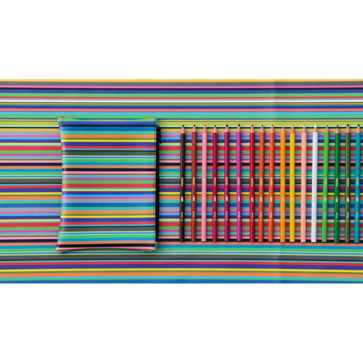 Pochette o astuccio da viaggio con fantasia a righe verticali colorata Total Stripes