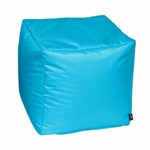 Pouf morbido in nylon alta qualità azzurro imbottito