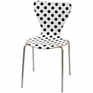 Sedia con gambe cromate e scocca fondo bianco a pois neri