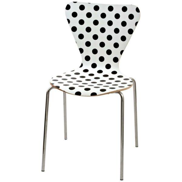 Sedia con gambe cromate e scocca fondo bianco a poi neri