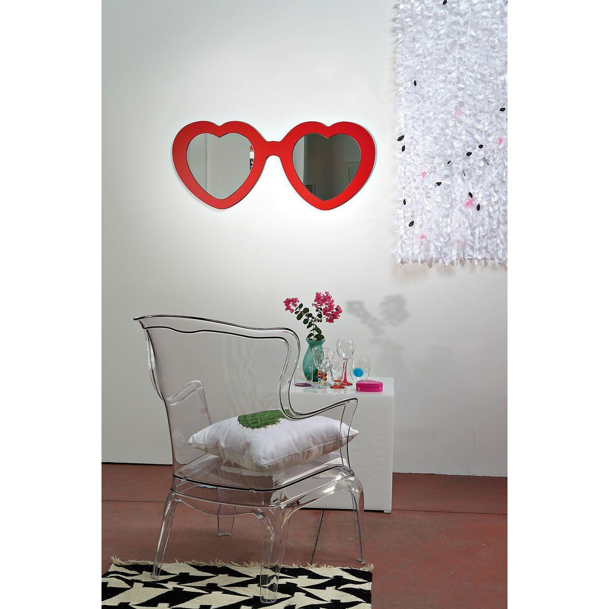 Specchio doppio a forma di occhiali ispirati al film Lolita con montatura a forma di cuore di colore rosso