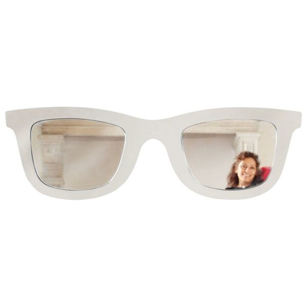 Specchio doppio a forma di occhiale maschile con montatura di colore bianco