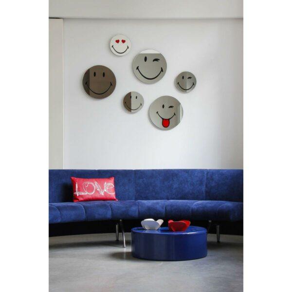 Specchio in vetro circolare con immagine Smiley originale emoticon occhiolino, cuoricini, linguaccia e smiley