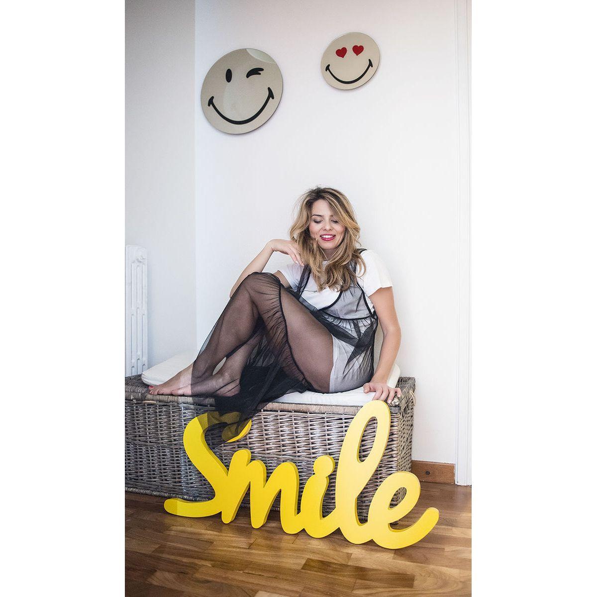 Specchio in vetro circolare con immagine Smiley originale emoticon occhiolino e cuoricini