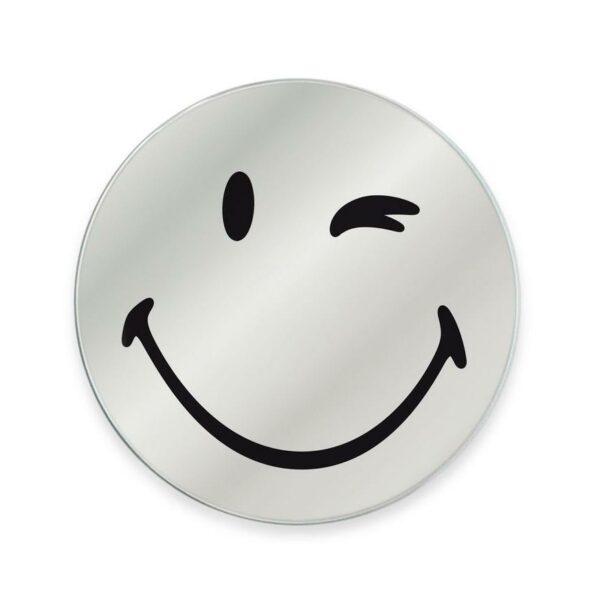 Specchio in vetro circolare con immagine Smiley originale emoticon occhiolino
