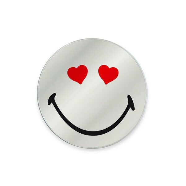 Specchio in vetro circolare con immagine Smiley originale emoticon cuoricini