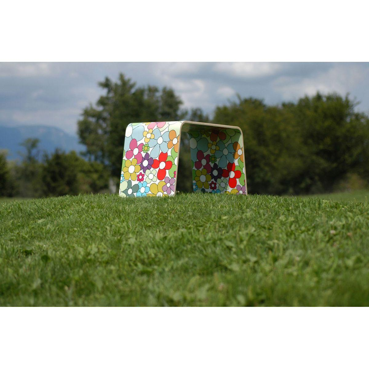 Tavolino basso monoscocca di faggio rivestito con artwork floreale multicolore